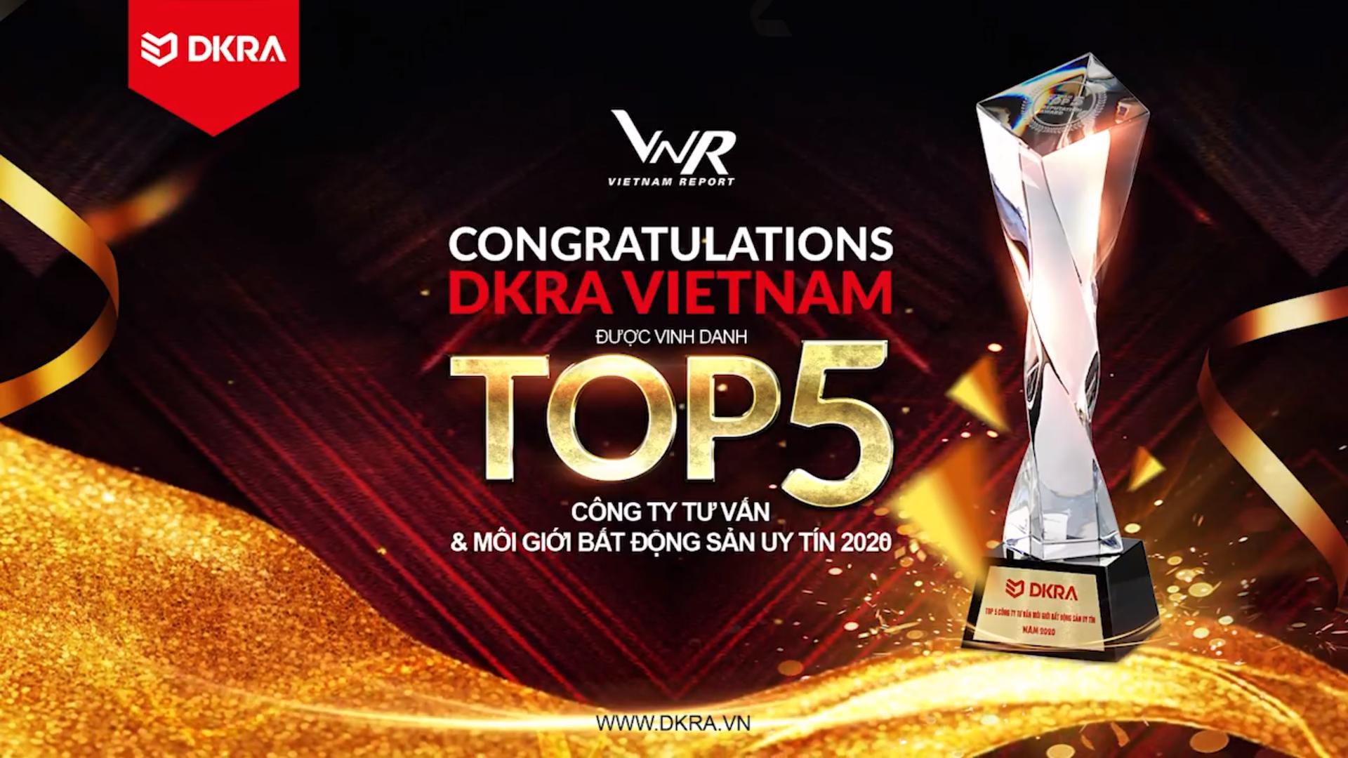 VIETNAM REPORT VINH DANH DKRA VIETNAM - TOP 5 CÔNG TY TƯ VẤN & MÔI GIỚI BẤT ĐỘNG SẢN VIỆT NAM UY TÍN
